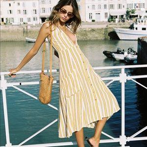 NWT Faithfull Claudia Azure Stripe Dress in Sun